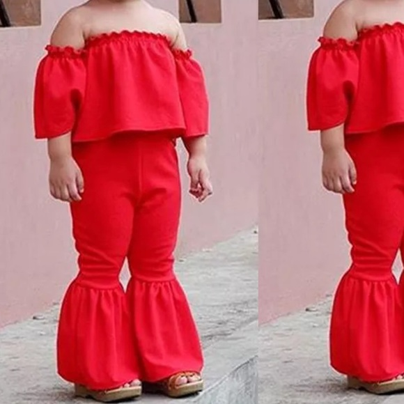 15d7a308531c70 Matching Sets | Red Ruffle Top Bell Bottoms Flared Pants Girls ...